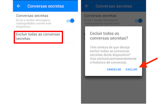 conversas secretas no Messenger