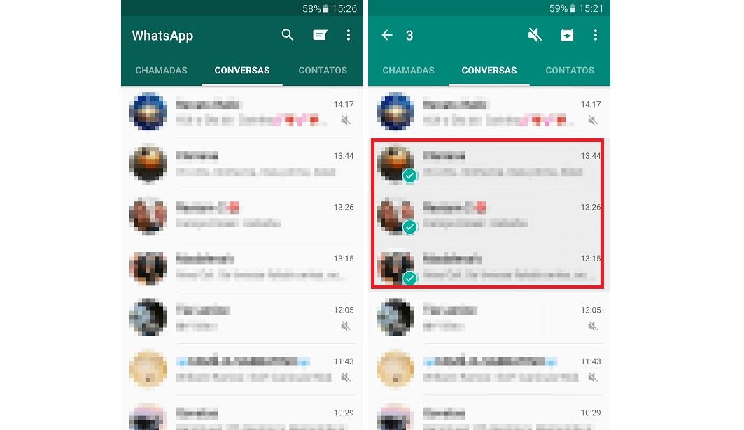 Print da tela de conversas do WhatsApp com passo a passo de como esconder qualque mensagem do app.