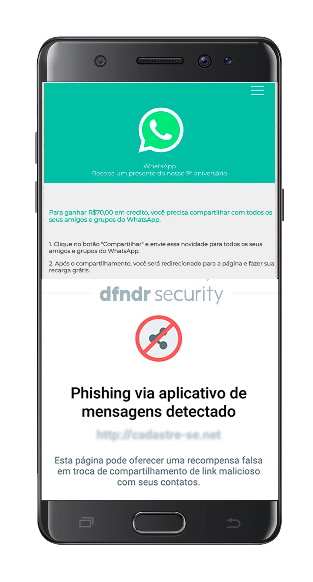 exemplo de detecção de phishing feita pelo dfndr security